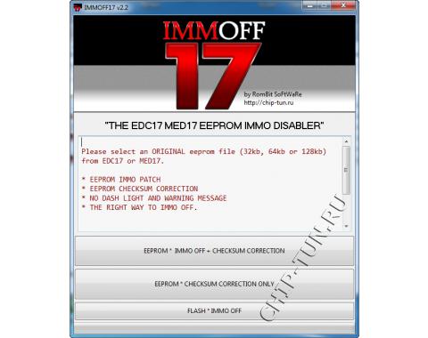 IMMOFF17 v2.2 - EEPROM immo Деактиваотор для EDC17, MED17